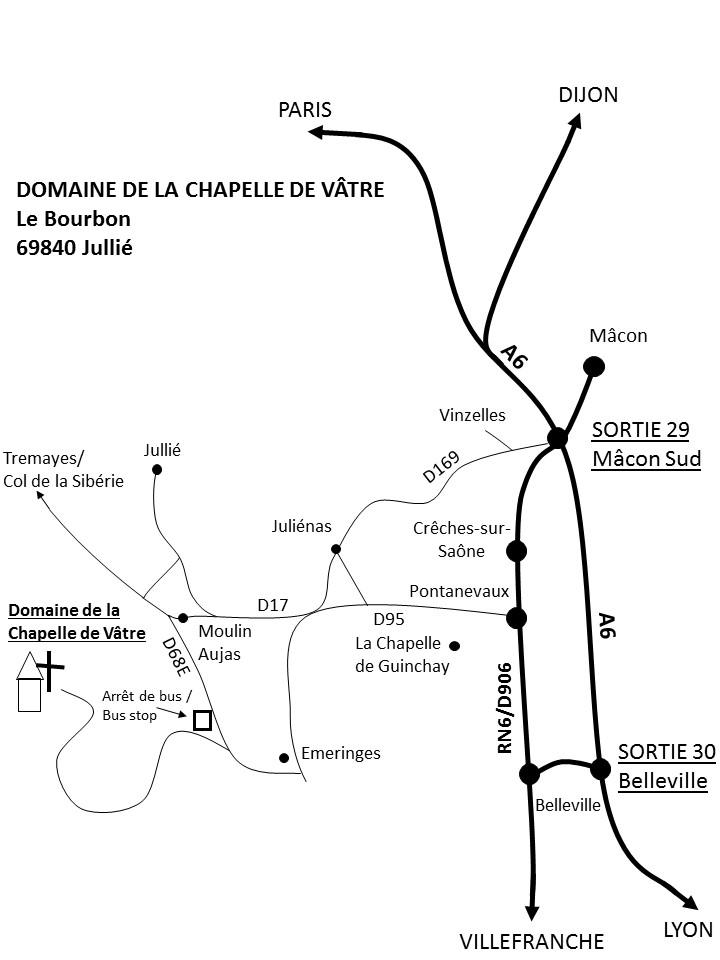 De l'autoroute A6 en direction de Paris  Sortie 30 Belleville D337 direction Fleurie/Mâcon. Au 3eme rond-point prendre 1ere sortie RN6 vers Mâcon. A Pontanevaux (12kms) tourner à gauche D95 direction Juliénas. Au rond-point suivre D17 direction Jullié. Continuer 3kms tout droit (ne pas suivre la fourche à droite vers Jullié-Bourg). A Moulin Aujas tourner à gauche très forte D68E direction Emeringes. Après 500m il y a un arrêt de bus sur la droite, prendre la rue à droite juste après l'arrêt de bus. Suivre la rue jusqu'au sommet de la colline (la chapelle). De l'autoroute A6 en direction de Lyon Sortie 29 Mâcon Sud Au rond-point 3eme sortie Lyon/Villefranche (N79). Après 500m suivre sortie à droite direction Villefranche. Suivre Villefranche jusqu'au RN6/D906, continuer sur Crêches-sur-Saône. A Pontanevaux (5kms) tourner à droite D95 direction Juliénas. Au rond-point suivre D17 direction Jullié. Continuer 3kms tout droit (ne pas suivre la fourche à droite vers Jullié-Bourg). A Moulin Aujas tourner à gauche très forte D68E direction Emeringes. Après 500m prendre la rue à droite juste après l'arrêt de bus. Suivre la rue jusqu'au sommet de la colline (la chapelle).