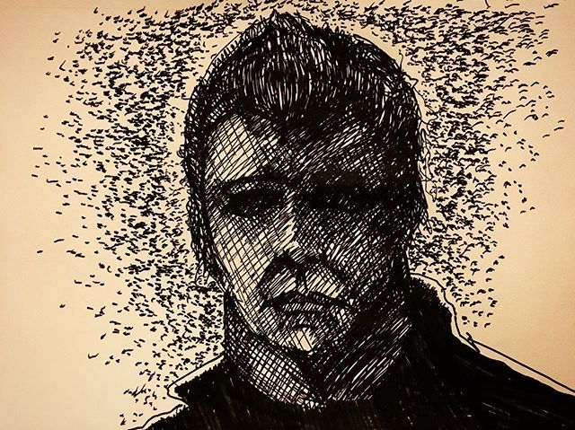 #guarded #inktober2018 #michaelmyers #inktober #halloweenmovie #sketchbook #newsketchbook #sketching #pentelhybridtechnica