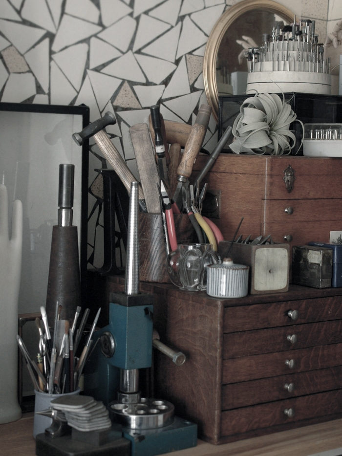 Little corner filled with her much loved finds and tools