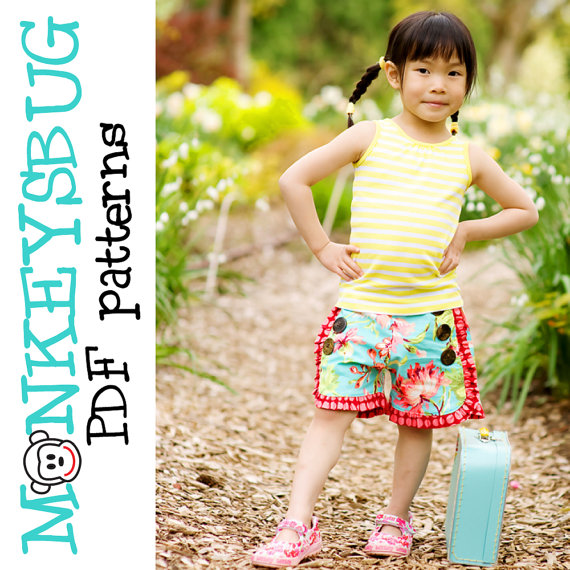 Sweet Sailor Ruffle Shorts by Monkeysbug