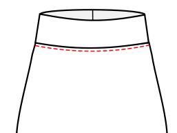 topstitch below waistband