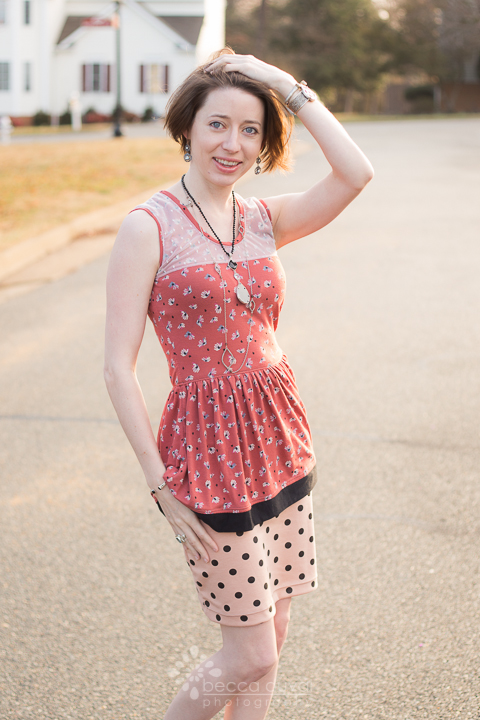 Lace Overlay + Peplum Modified Sew Caroline Out & About Dress and Jocole Polka Dot Mini Pencil Skirt in Girl Charlee Knits. Jewelry styled by  Krystle Clark, Rep of esbe Designs