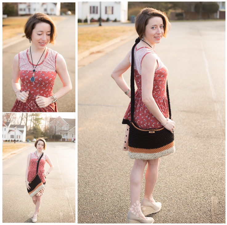Lace Overlay + Peplum Modified Sew Caroline Out & About Dress and Jocole Polka Dot Mini Pencil Skirt in Girl Charlee Knits. Jewelry styled by  Krystle Clark, Rep of esbe Designs . Crochet Tote by  Hook No Further .