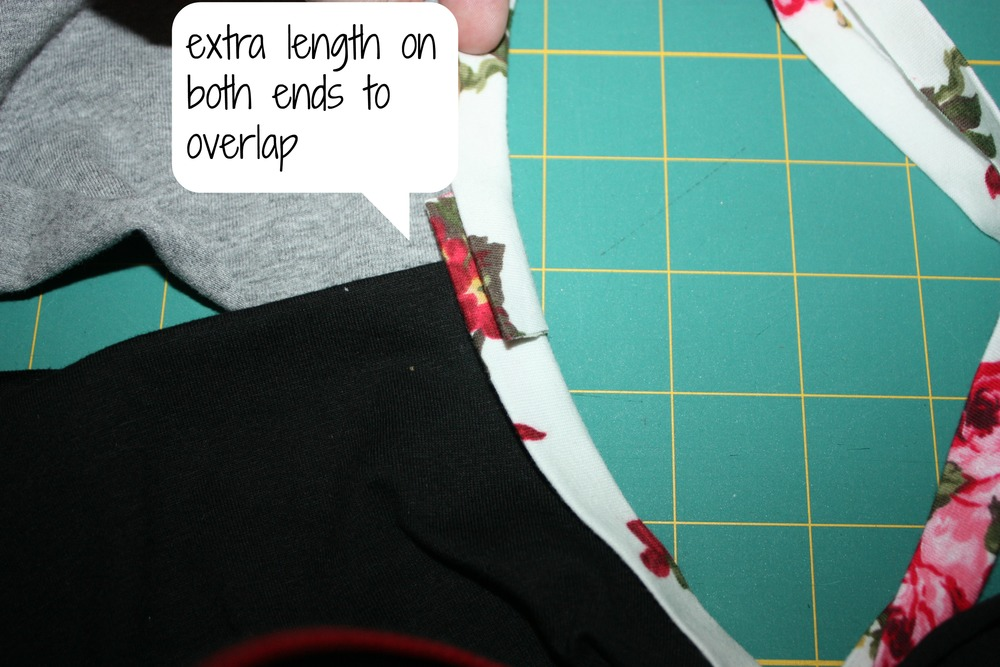 ends of bias tape overlapping.  your stitching would stop about 1' away from the shoulder seam on both sides.