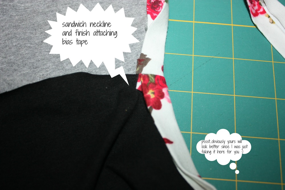 This gives you nice matching seam lines.  This is perfect for when you don't want to hide your bias tape.
