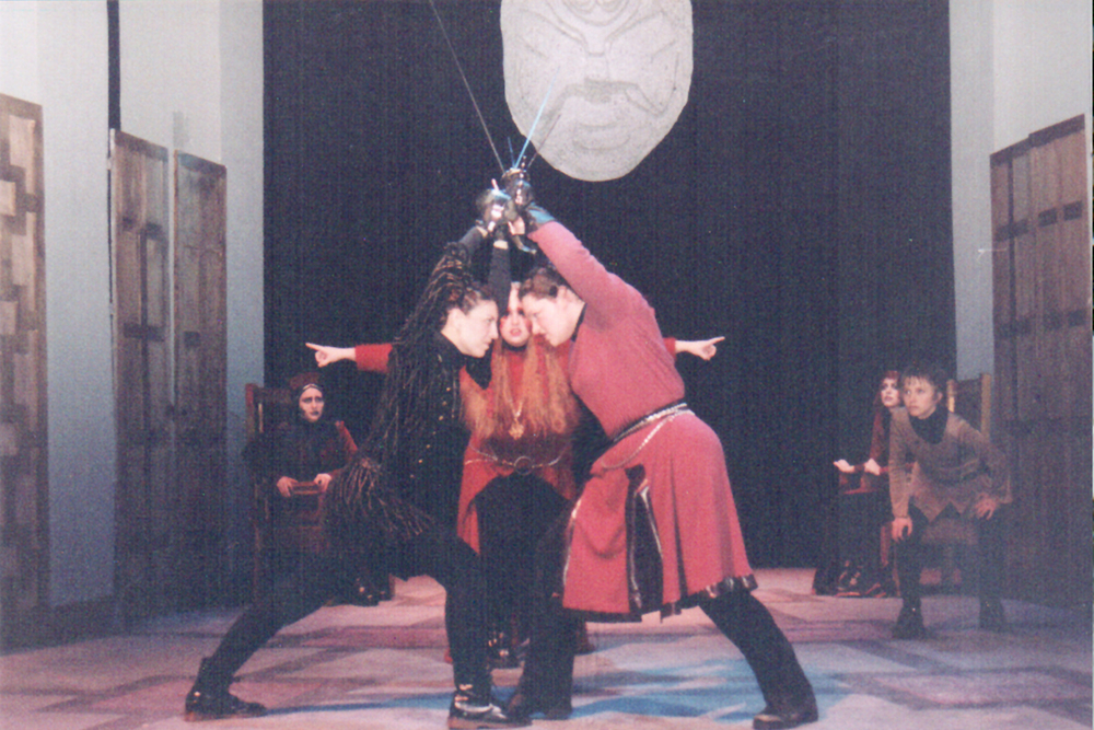 The very first show I ever designed - HAMLET - with an all female cast.... and yes, that is me as Laertes, bet you didn't know that I am dang good with a sword!