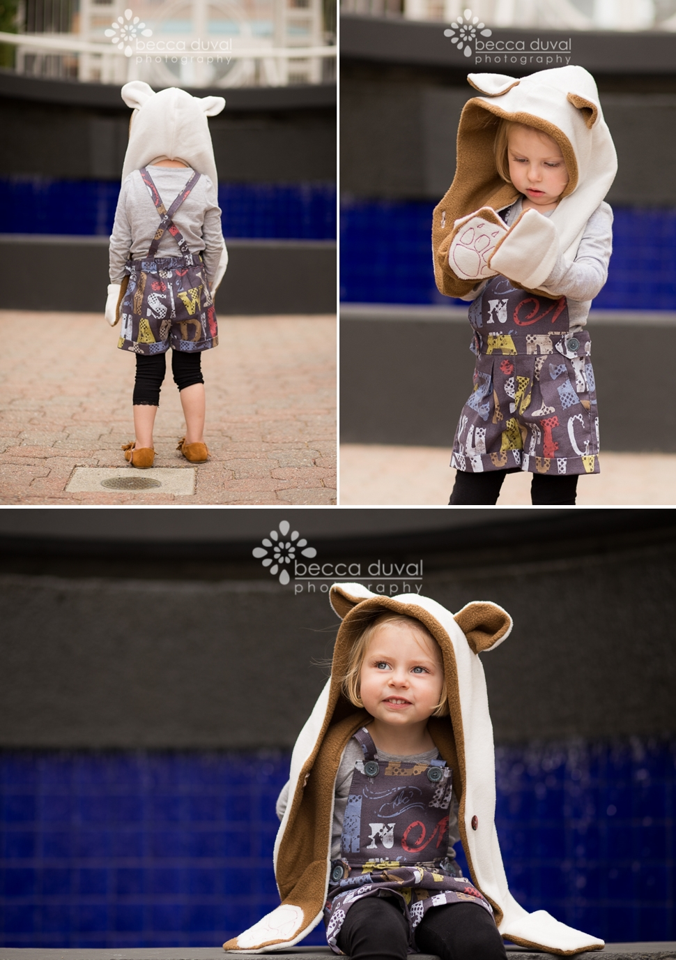 DIY Bear Scarf Tutorial - A @livingdiystyle1 Hoodie Cowl Pattern Modification | DIY Overall mash-up @willowandco Clover Shorts and @TheMouseHouse Sydney Pinafore