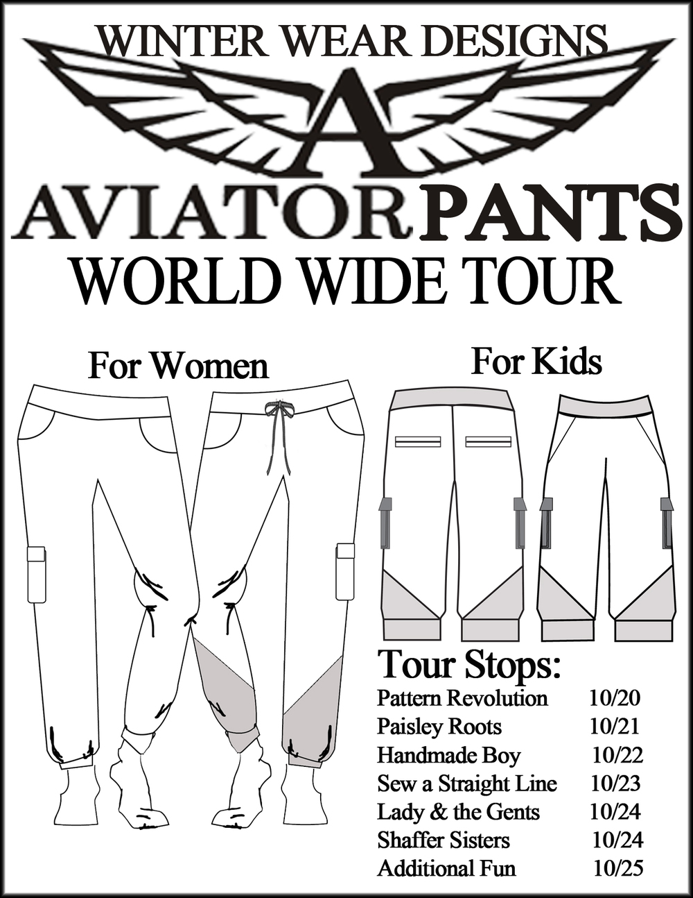 World Wide Tour- Aviator Pants- Winter Wear Designs- Pattern Revolution