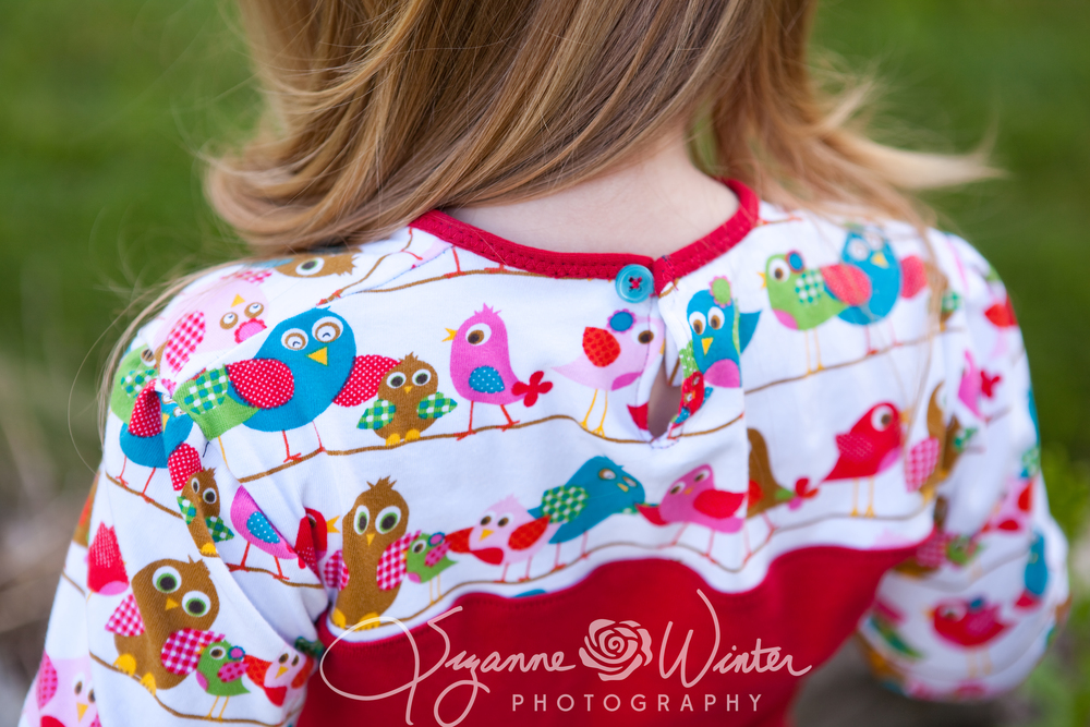 Bird fabric from L'Oiseau - combined with an upcycled red T