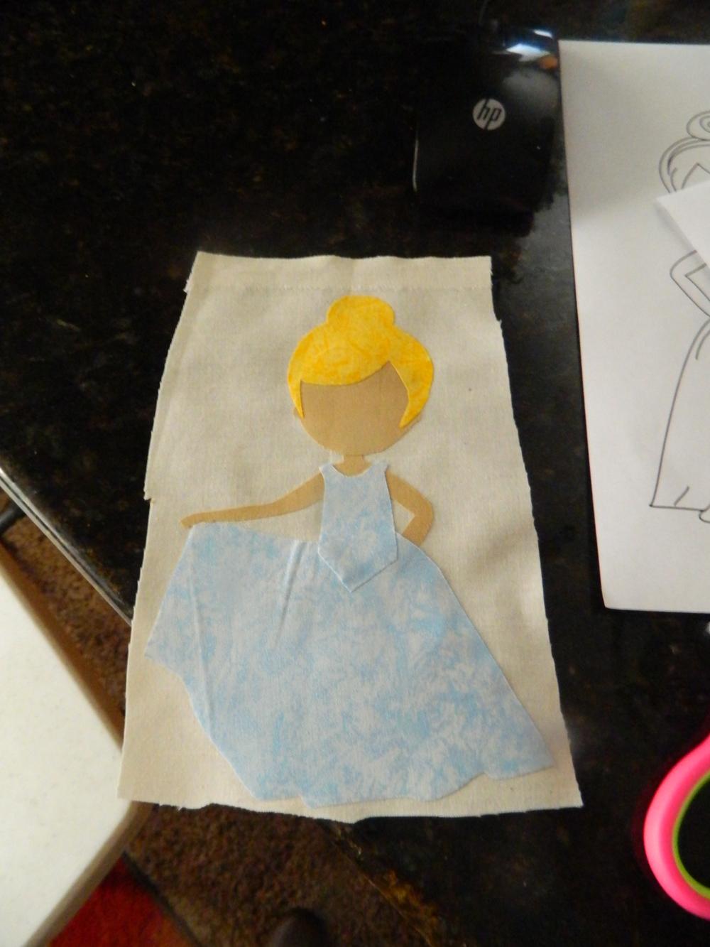 I used MM fairy frost {dress}, Tan Kona {Joann} Yellow woven {Joann}
