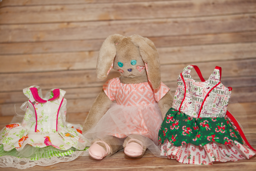 both of these dresses fit perfectly on the My Childhood Treasures Rachel Rabbit - which I made for this project since we don't have an 18 inch doll.