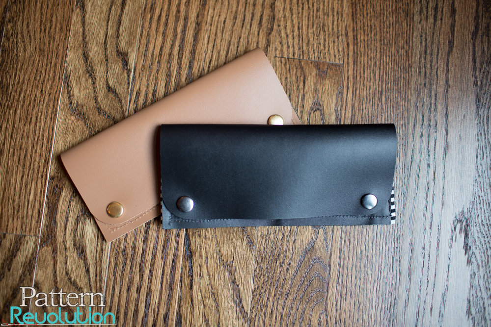 Fold Over Wallet-Cricut Genuine Leather (Black and Camel)