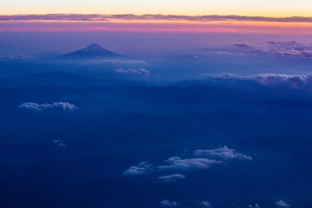 On the flight over I got the chance to see Mt. Fuji at sunset.  It looks so small from 35,000 feet.