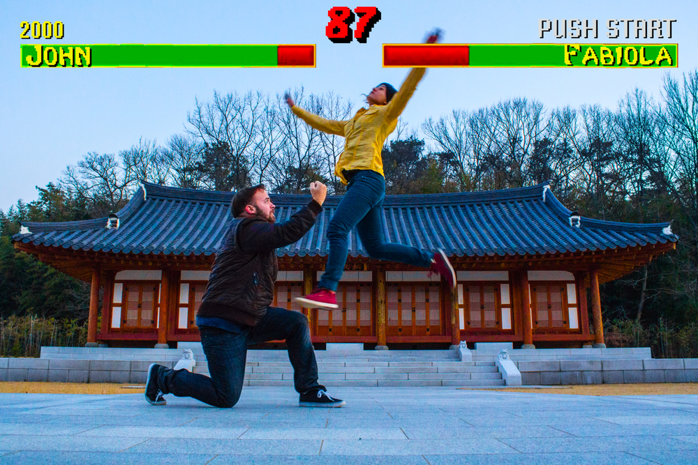 Couple's photography, Mortal Kombat style.