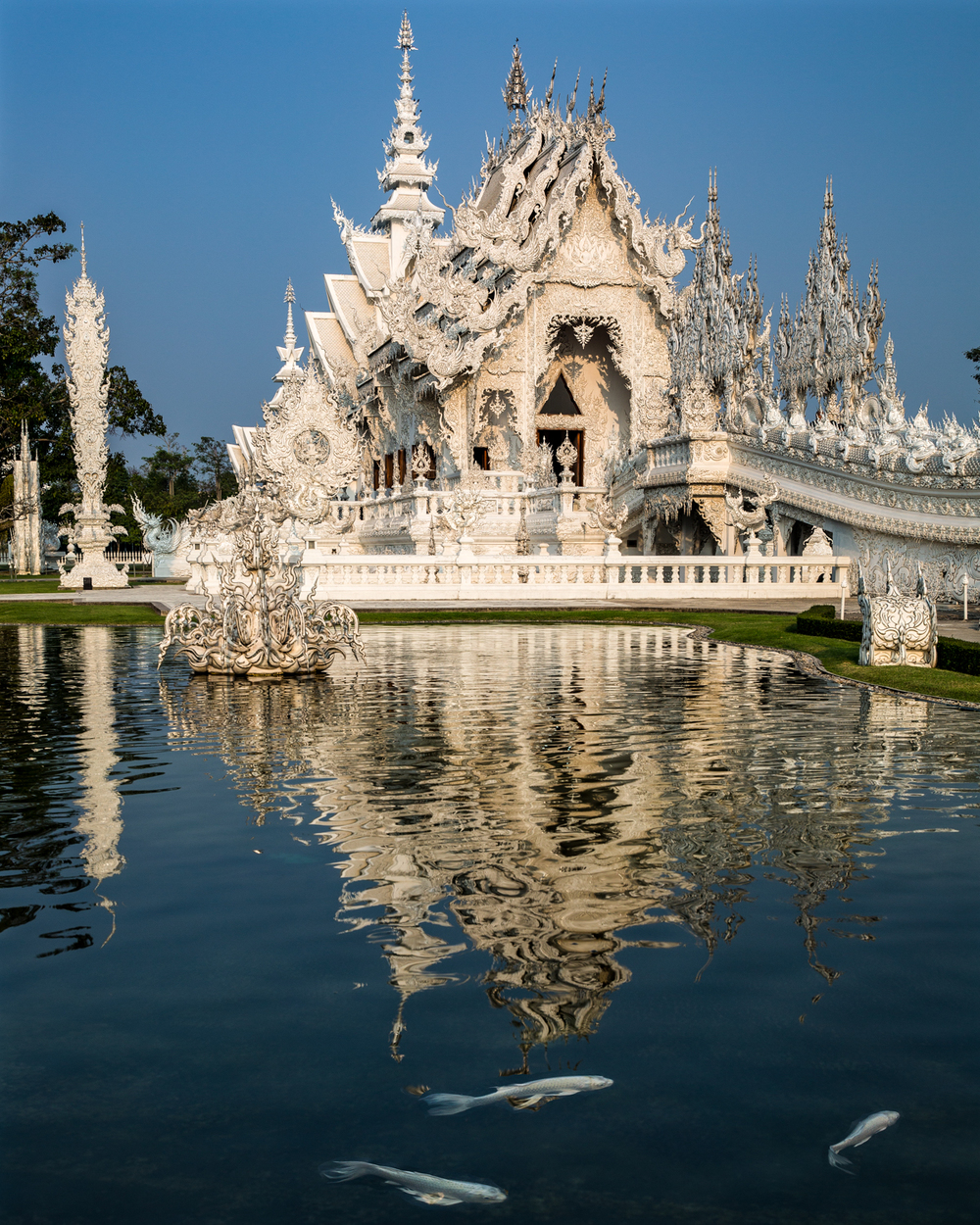 Wat Rong Khun (The White Temple) is amazingly beautiful.