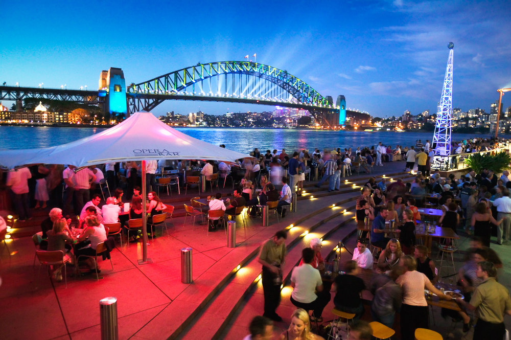 The Opera Bar and the Sydney Harbour Bridge at Circular Quay.