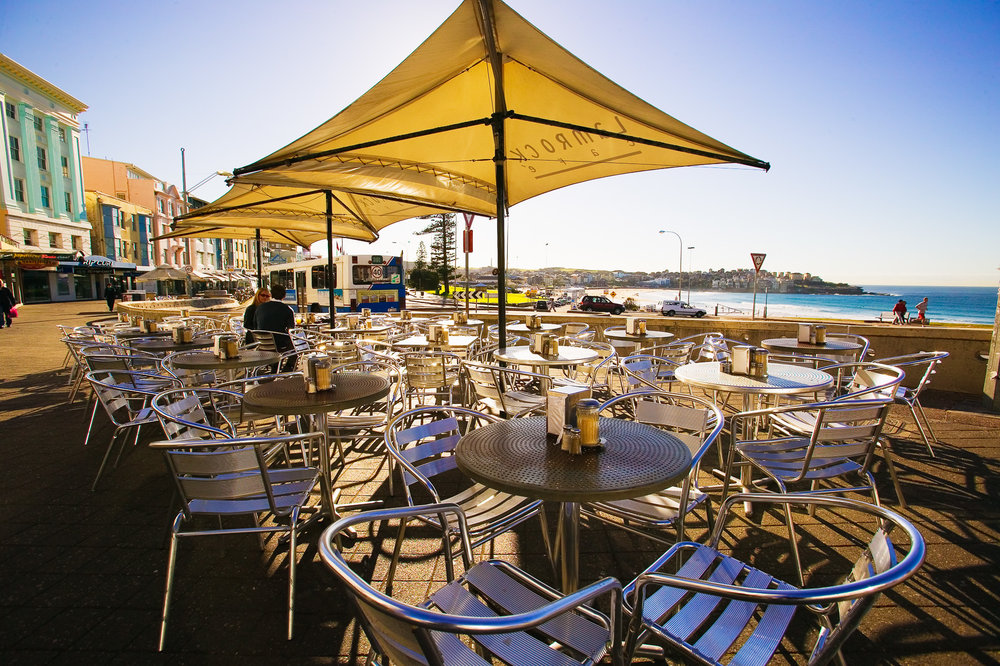 Cafe along Campbell Parade at Bondi Beach.