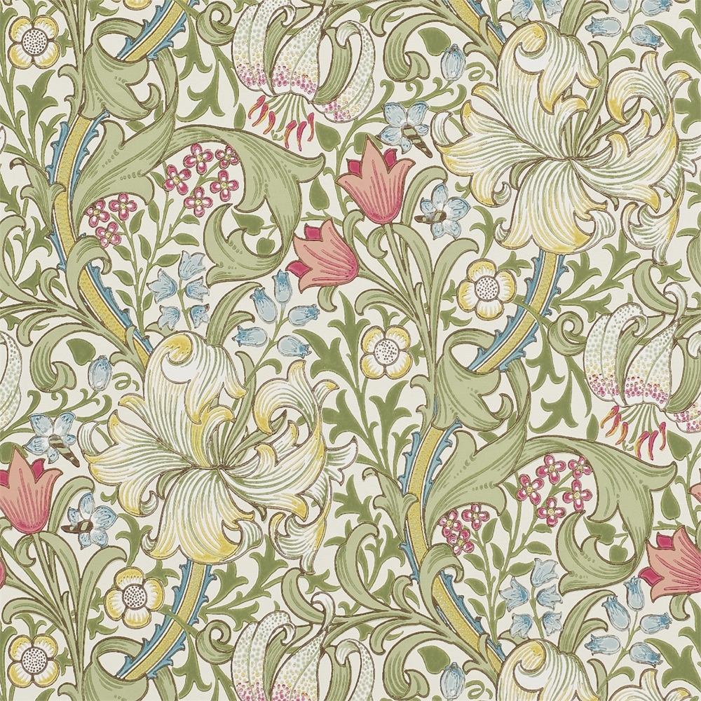 14. GOLDEN LILY PALE BISCUIT En av de mest berömda Morris-tapterna, mönster från 1899, William Morris & Co.