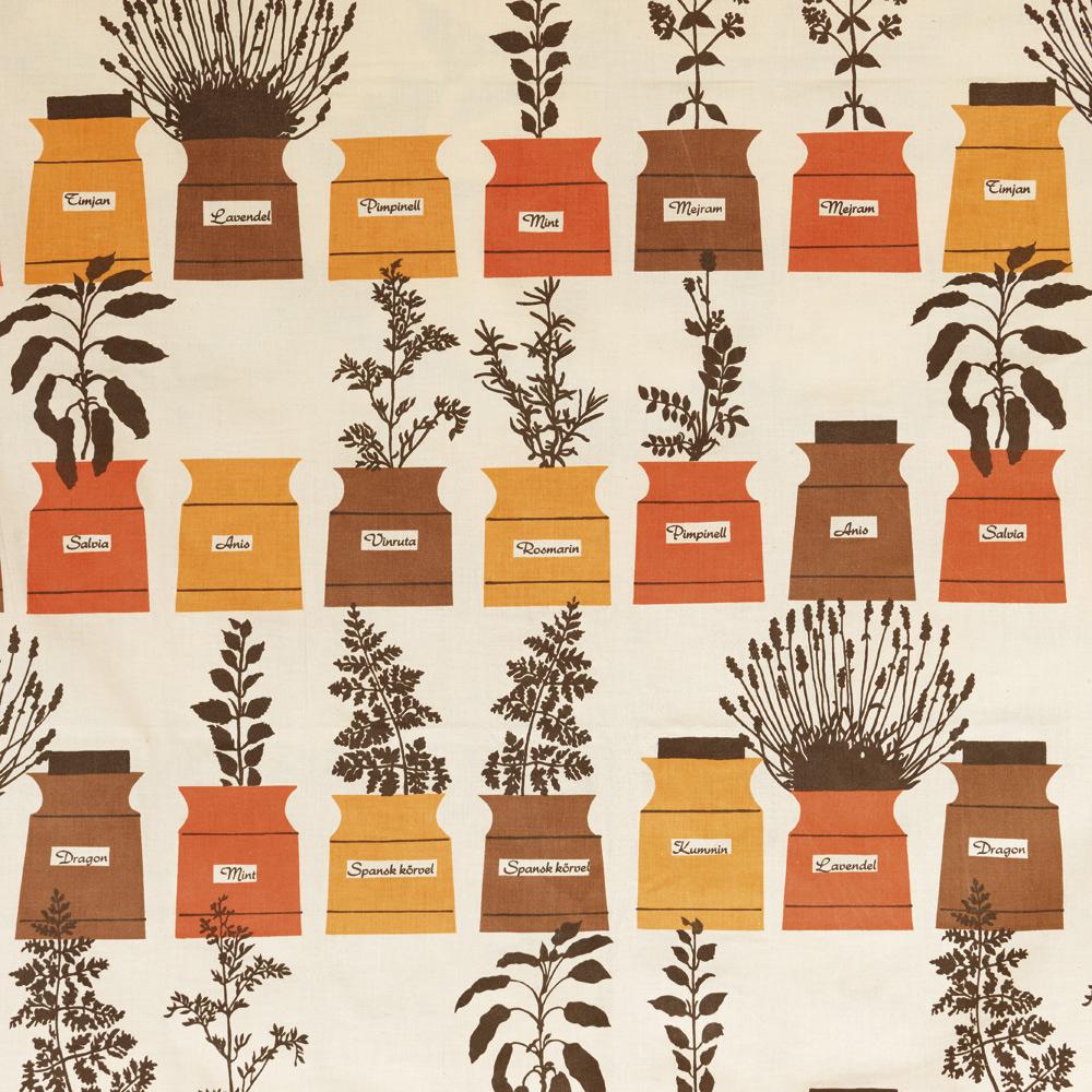 Mönstret finns nytryckt som bland annat handdukar hos Almedahls. Här är original-tyget från 1950-talet. Astrid Sampes Persons kryddskåp, 131x174 cm.Prylodesign.