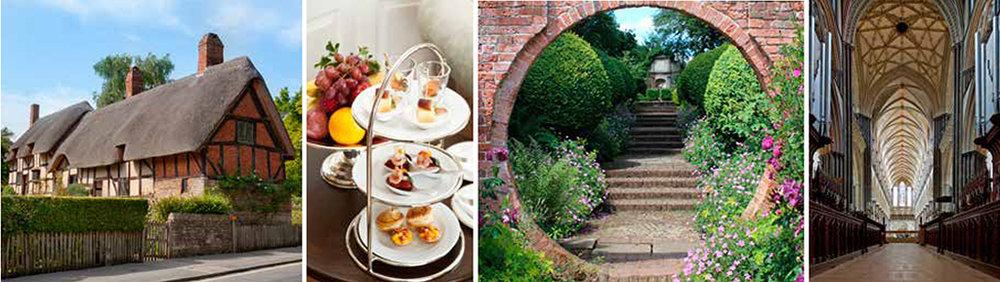 Under resan hinner vi bland annat med besök på Anne Hathaways cottage, klassiskt Afternoon tea, vackra trädgårdar och den pampiga katedralen i Salisbury.