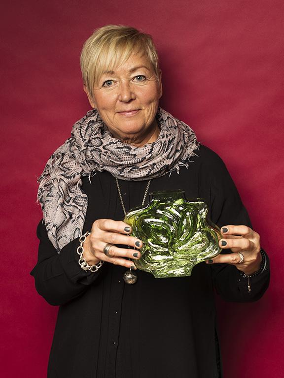 Tuula Halonen hittade en vas av finskt glas med en vackert graderad grön färg, för 250 kr.