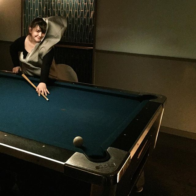 "I am playing pool and wearing a shark outfit. It is official I am a #poolshark #thanks #bye - Also, I've played pool for three times in my life #thrice and won three times! I mean... yes I had great partners! - First #haloween in #brooklyn  tbh that #shark is eating me. Thanks for the pic @r0tis i wish i could hear your ""look at the damn ball!""s"