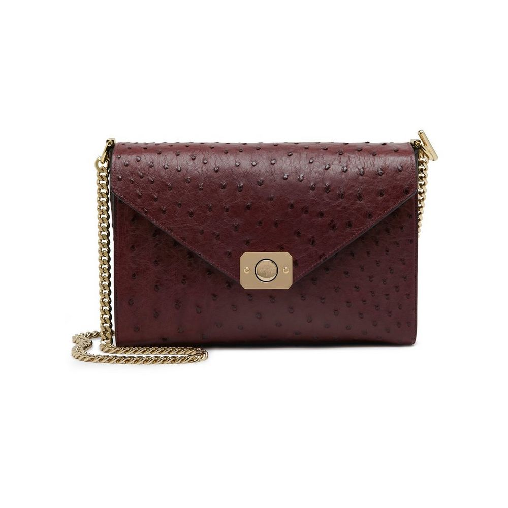 Delphie Clutch Ostrich in Oxblood WAS £1,495 NOW £1,046