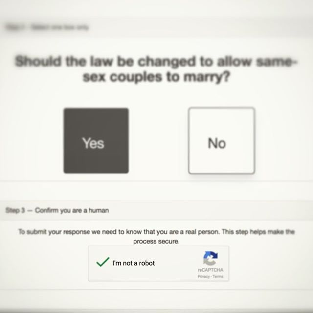 "Wonder if selecting ""No"" on Australia's #marriagelawsurvey automatically assigns you the dead inside status of ""robot""..?"