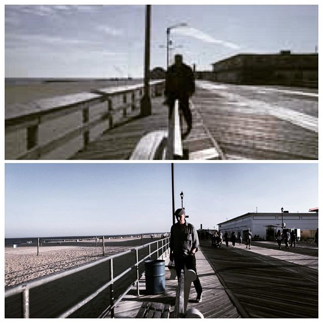 One of these is a random low res screen capture from a scene in #TheSopranos and the other is the moment my stepfather, having recognised the location on an impromptu outing to Jersey, attempted to recreate the random screencap. But which is which? #spotthedifference