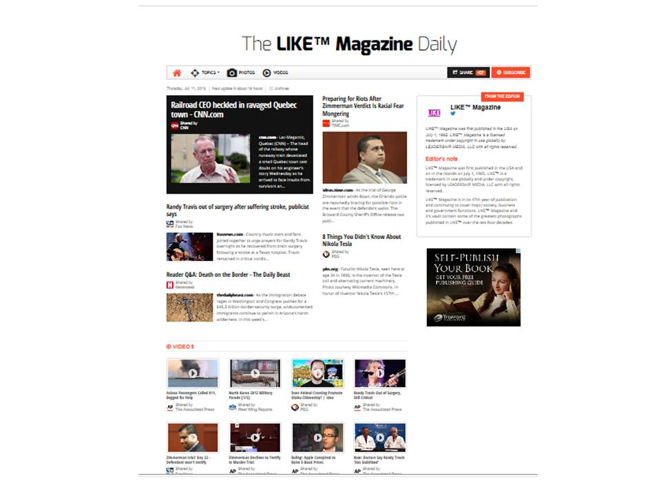 Preview the daily, hyper-local online newspaper for    LIKE™ Magazine .