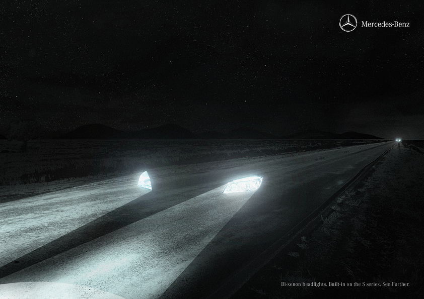 Print ad for Mercedes-Benz Bi Xenon headlights