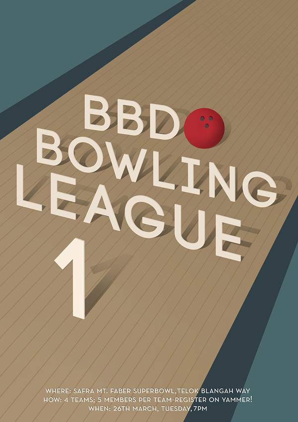 A poster that was designed for the first bowling contest of the office.