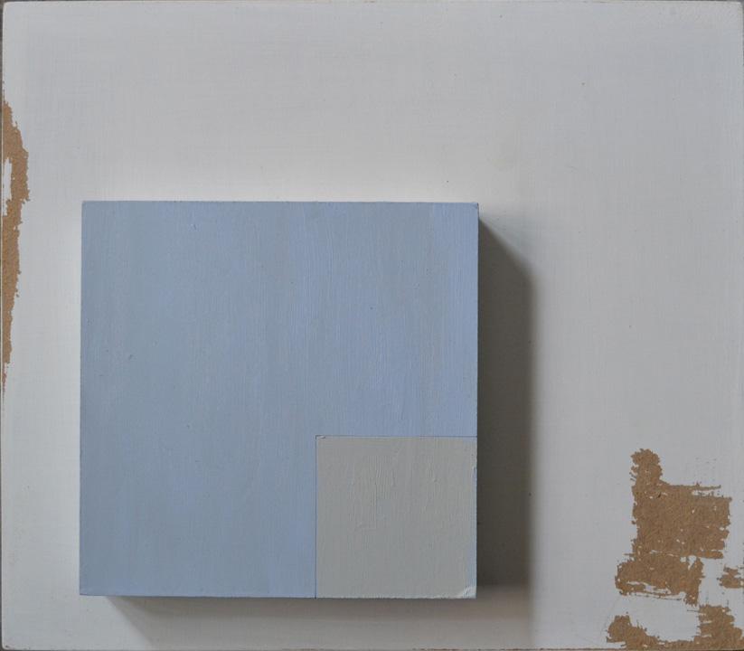 Objeto cuadrado 1, oleo sobre panel, 35x40cms