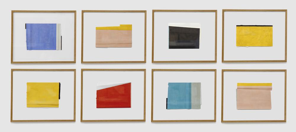 Planos irregulares, 8 piezas de 30 x 40 cms, óleo sobre papel
