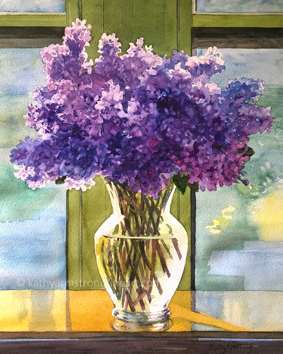 """Lilacs in Clear Vase"""
