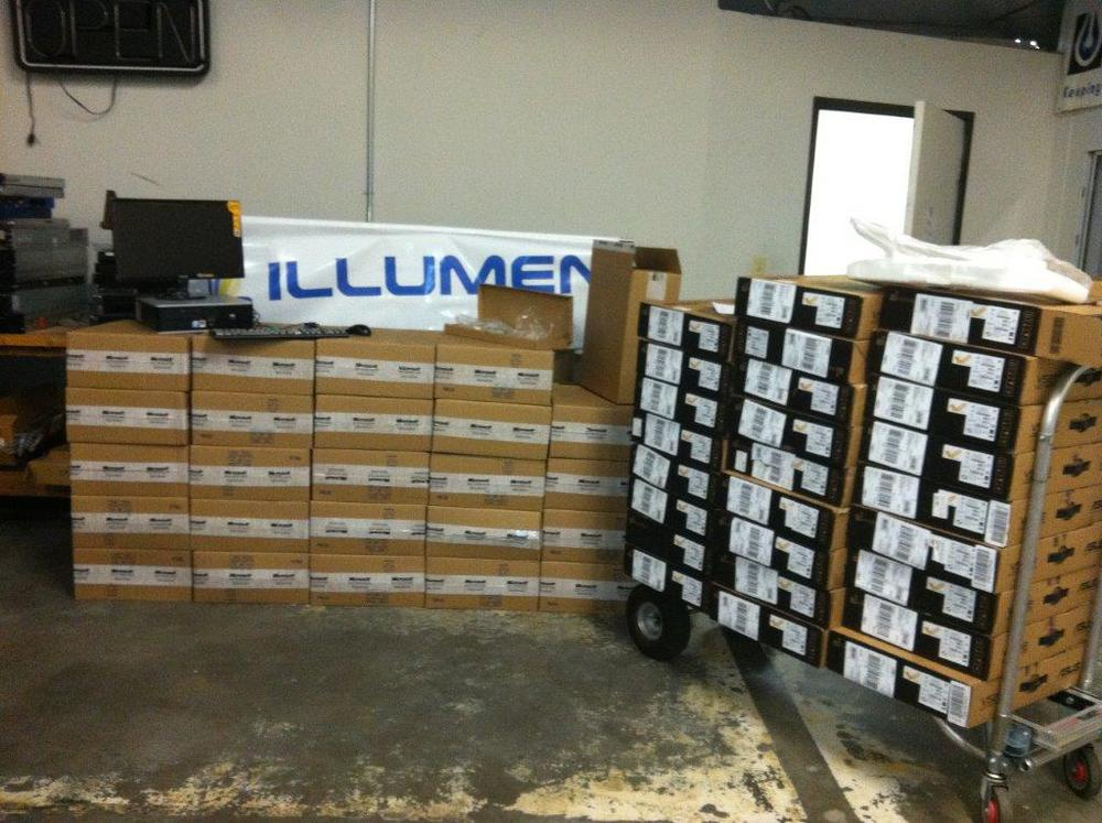 All 25 workstations, waiting for installation at Illumen HQ