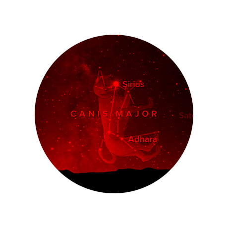 Night vision A red light setting helps preserve your dark-adapted eyesight so you can more easily see real stars.