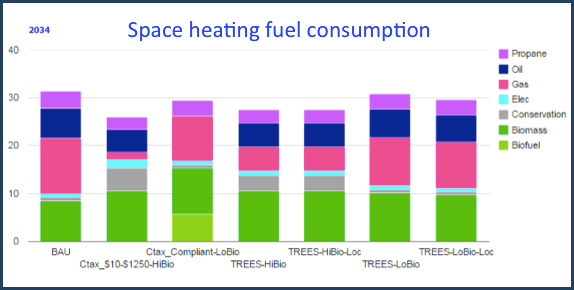 The most cost-effective space heating technology pathways depend on policy and biofuels cost