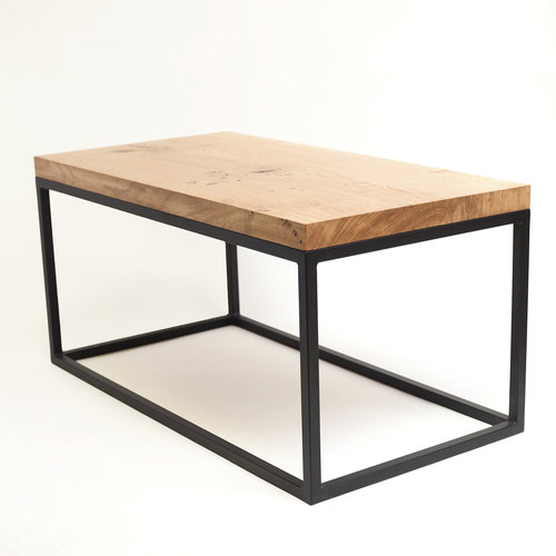 oak grid coffee table matte black metal frame - Metal Frame Coffee Table