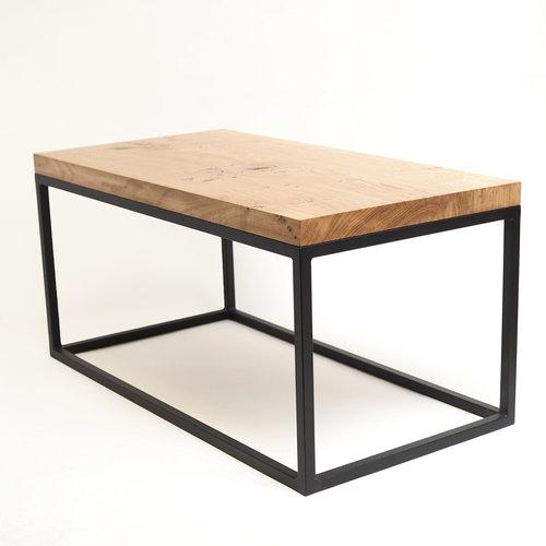 oak grid coffee table matte black metal frame - Metal Frame Coffee Table