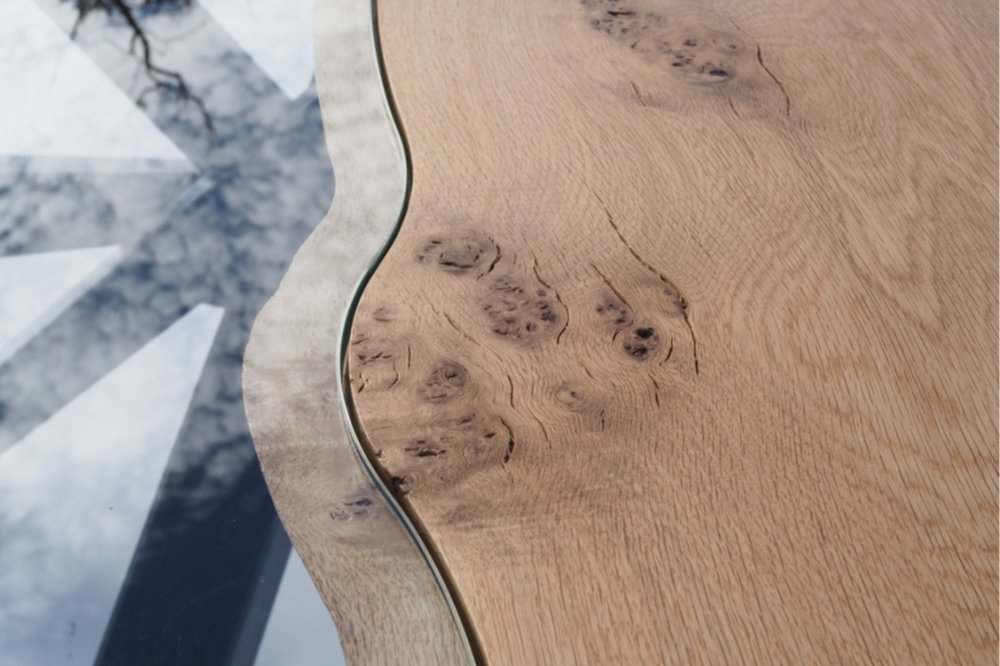 oak, steel and glass river table waney edge.jpg
