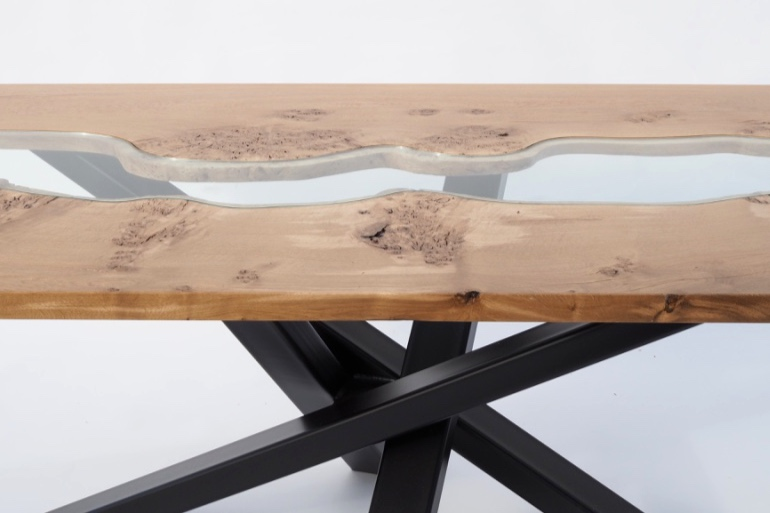 burr oak steel and glass dining table.jpg