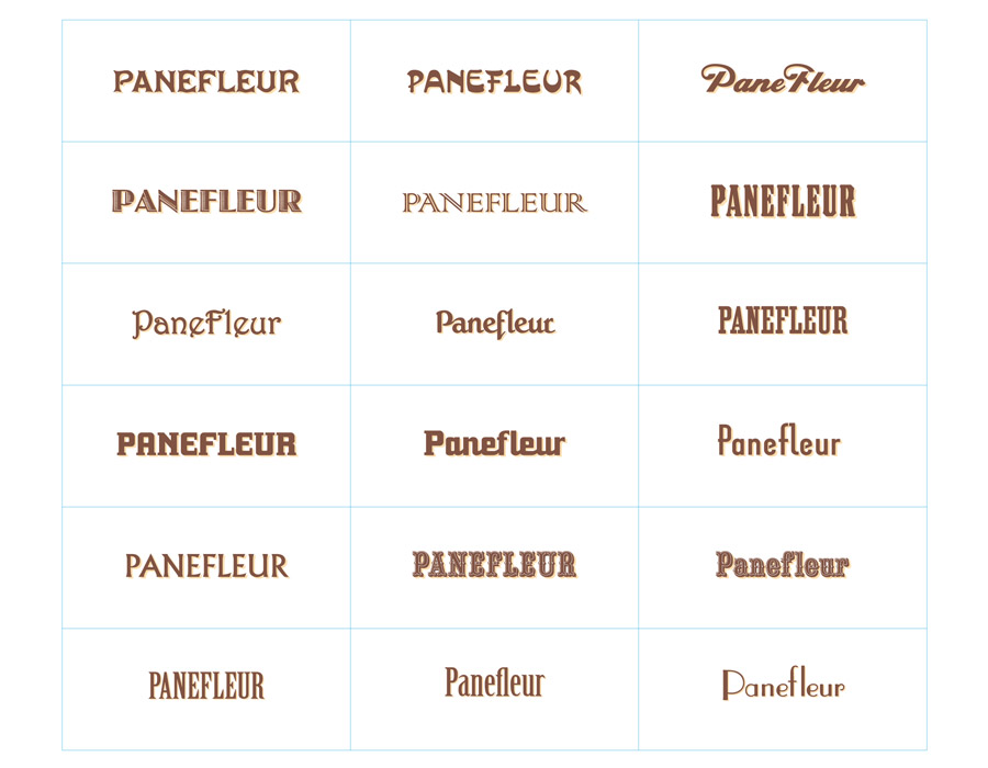 Preliminary simple type study to investigate the appropriate voice and genre for the product name. It needed to have a European country artisanal flavor.