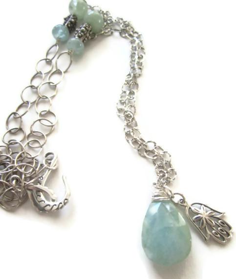 Aquamarine Sterling Hamsa Necklace