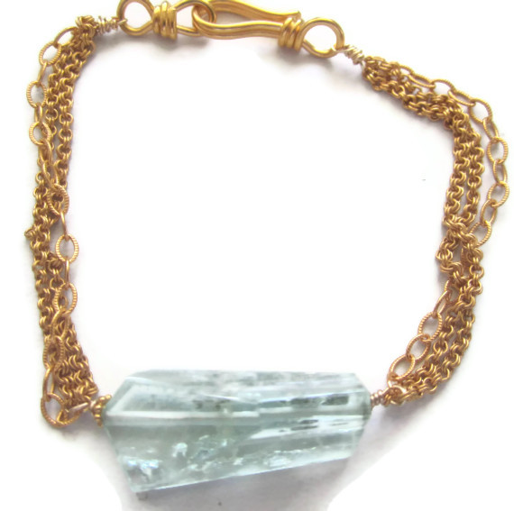 Aquamarine Gold Link Necklace