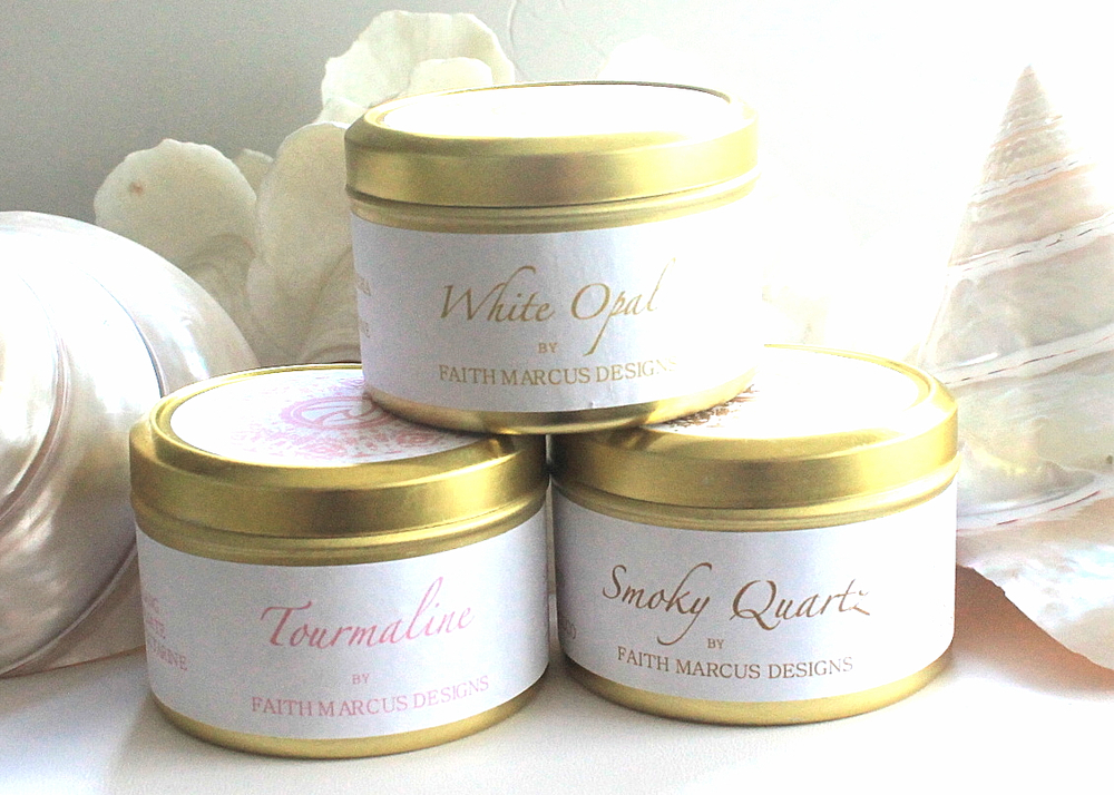 Mini soy candle tins (4 ounce) , available in your choice of four scents from Faith Marcus Designs. One of your gifts when you spend $150 or more