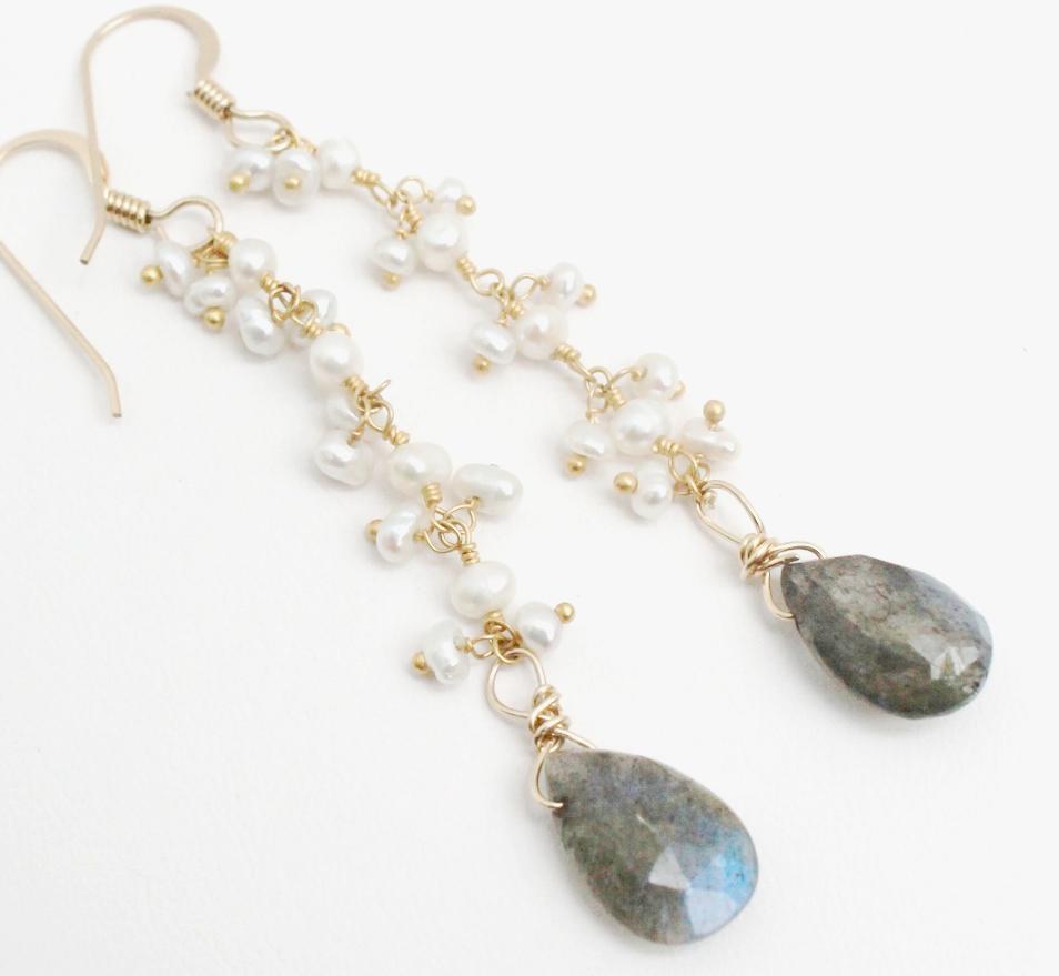 Labradorite and Pearl Cascade Earrings