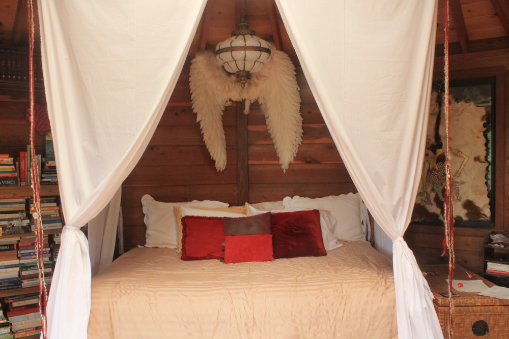 Inside the yurt..mystics sleep here!...a little redecorating while here!