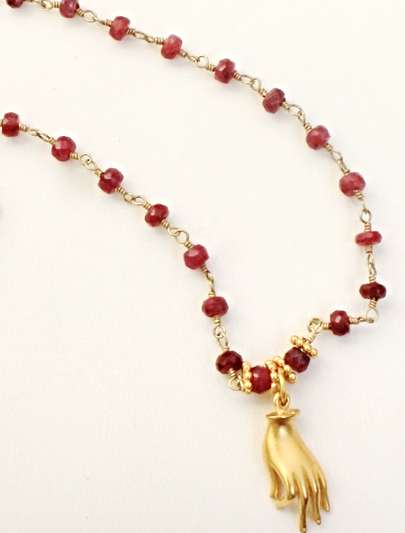 Ruby and Gold Mudra Necklace