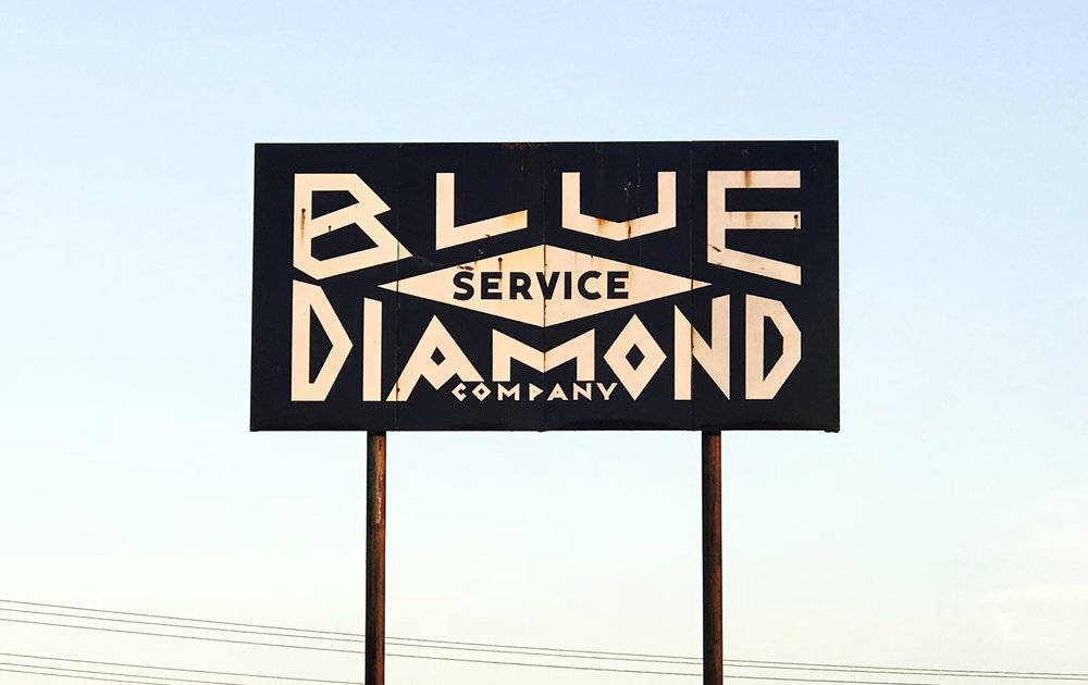 Look for the Blue Diamond sign -